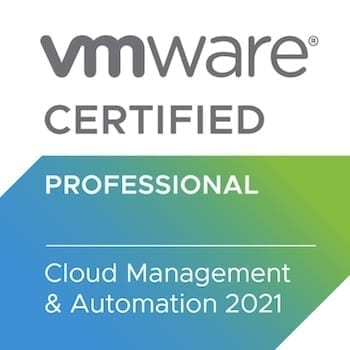VMware Certified Professional Cloud Management Automation 2021 badge